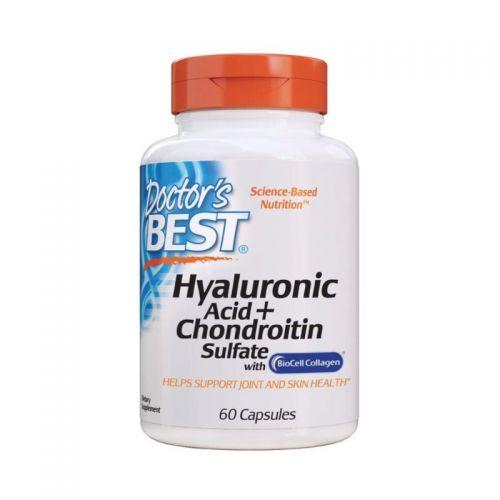 Doctor's Best Hialuronska kislina s hondroitinom in BioCell kolagenom, 60 kapsul
