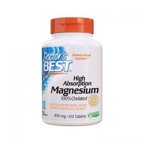 Doctor's Best Magnezij z visoko absorpcijo 100mg, 120 tablet